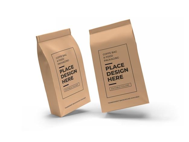 Mockup di imballaggio per sacchetti di caffè e cibo