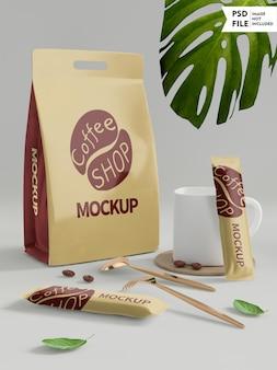 Mockup di set di confezioni per caffè