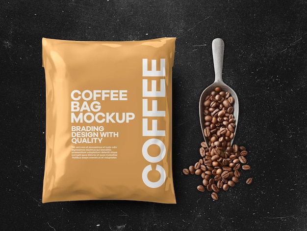 Mockup di bustina di caffè