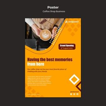Modello di progettazione del poster aziendale della caffetteria