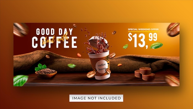 Modello di banner di copertina di facebook di media sociali di promozione del menu di bevanda della caffetteria