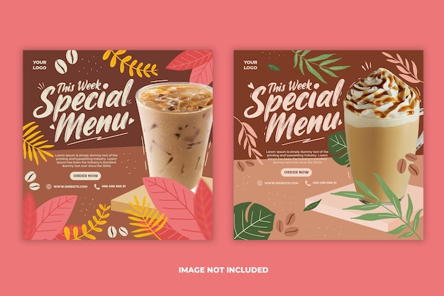 Coffee shop drink menu promozione social media instagram post banner template set