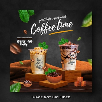 Modello di banner di post di instagram di social media di promozione del menu di bevande della caffetteria