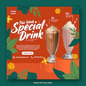 Coffee shop drink menu promozione social media instagram post banner template