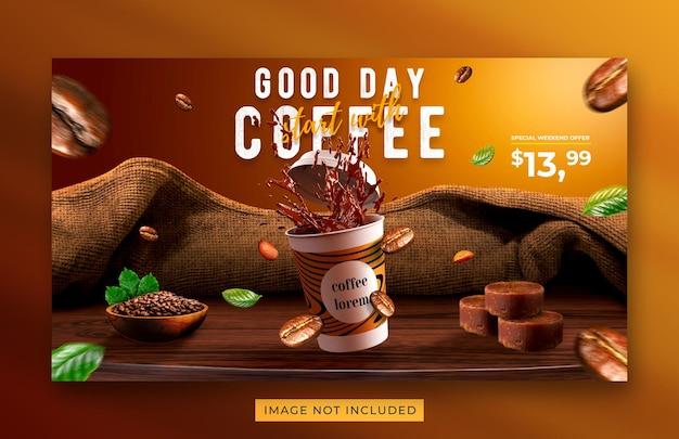 Modello di banner web promozione menu bevanda caffetteria