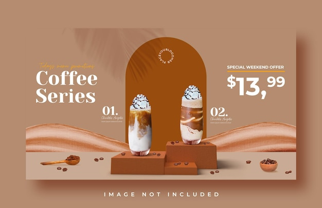 Modello di banner web di promozione del menu di bevande della caffetteria