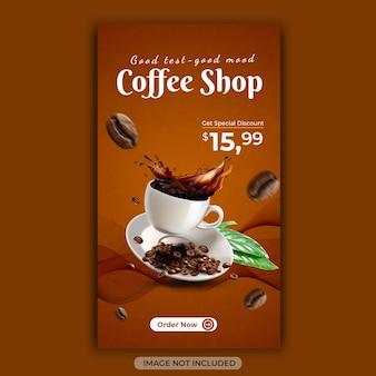 Banner di social media del menu delle bevande della caffetteria o modello di annuncio di instagram
