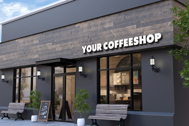 Mockup del logo della facciata della caffetteria