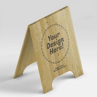 Mockup realistico isometrico dell'insegna di legno aperta della caffetteria
