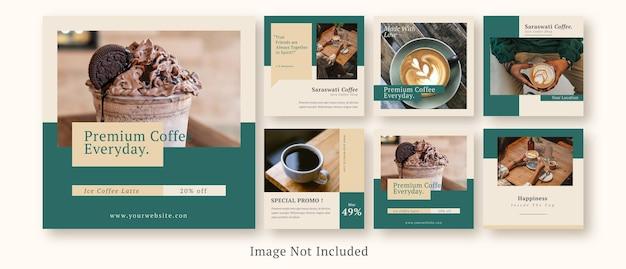 Modello di set di post sui social media della caffetteria