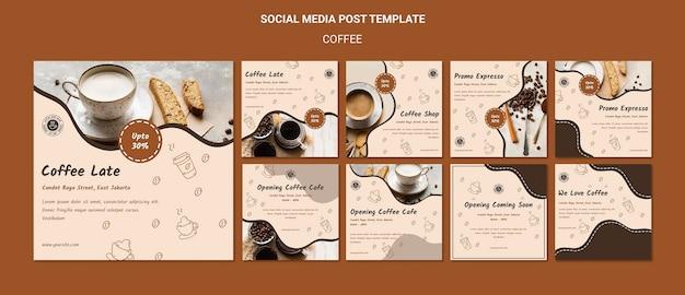 Modello di post sui social media della caffetteria