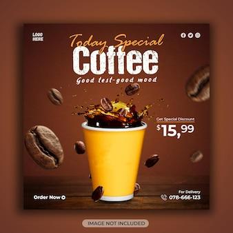 Banner promozionale per i social media della caffetteria o modello di progettazione di post di instagram