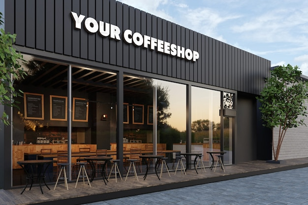 Mockup del logo 3d della vetrina della caffetteria