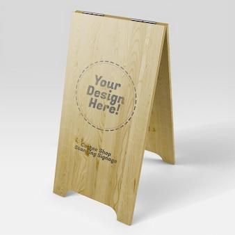 Mockup realistico di cartello in legno alto in piedi della caffetteria