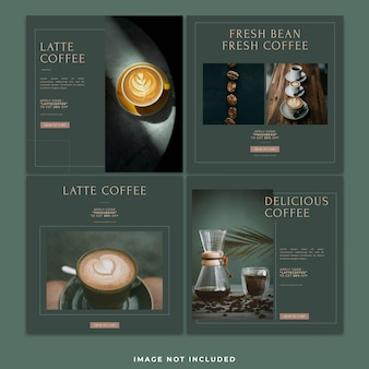 Post sui social media del caffè instagram template bundle post