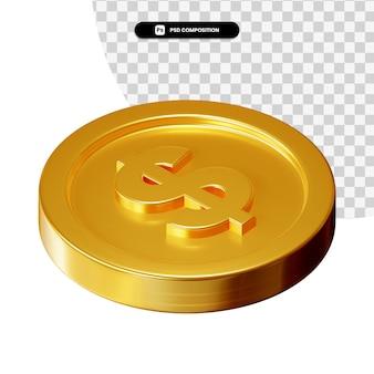 Rendering visivo 3d della moneta isolato