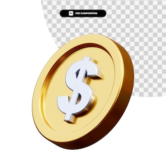 Moneta dollaro 3d rendering isolato