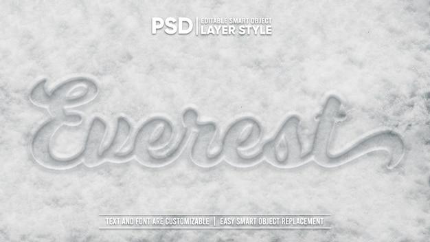 Tipografia fredda inverno bianca neve disegna stile livello modificabile effetto testo oggetto intelligente