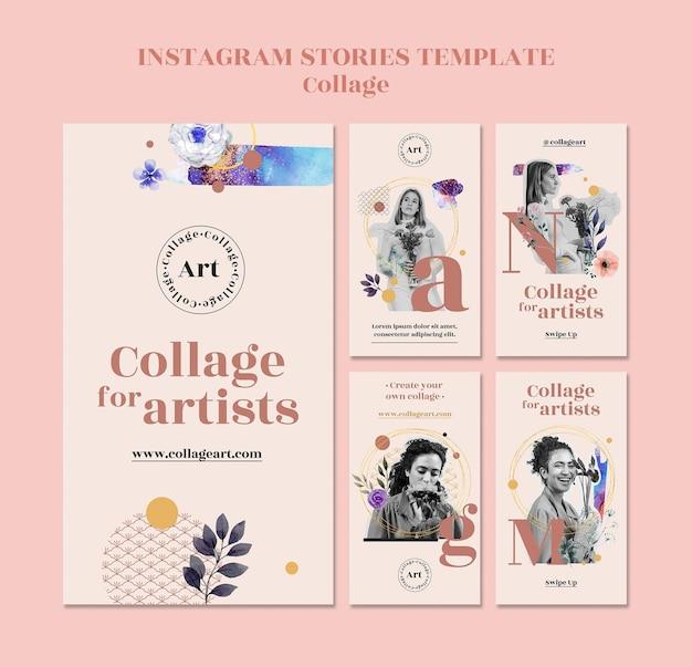 Collage per modello di storie di instagram di artisti