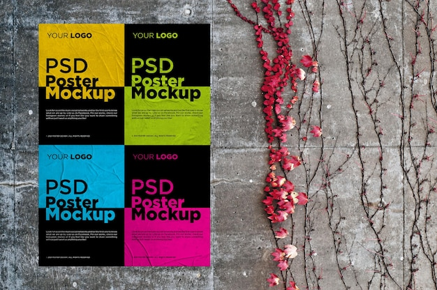Collage di quattro mockup di poster incollati e stropicciati
