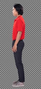Collage gruppo figura intera scatto di 20s uomo asiatico capelli neri camicia rossa pantalone nero e scarpe. il ragazzo si alza e gira di 360 intorno alla vista posteriore del lato posteriore su sfondo bianco isolato