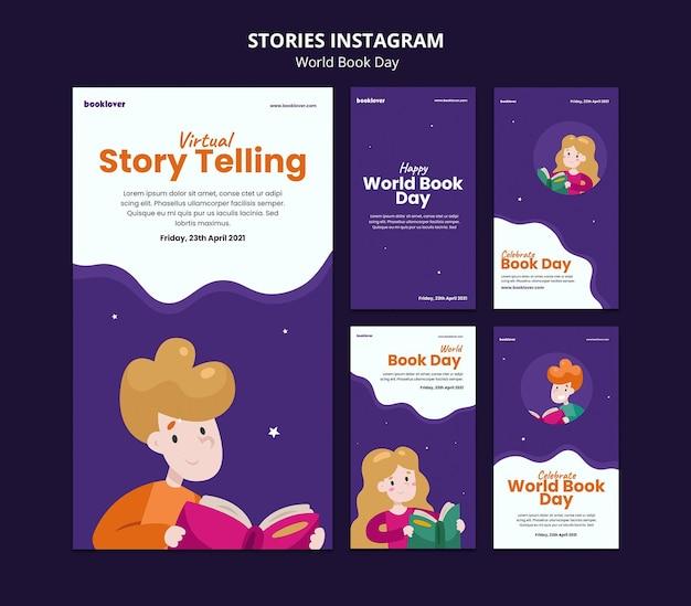 Raccolta di storie di instagram della giornata mondiale del libro