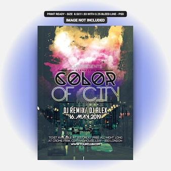 Color of city party flyer