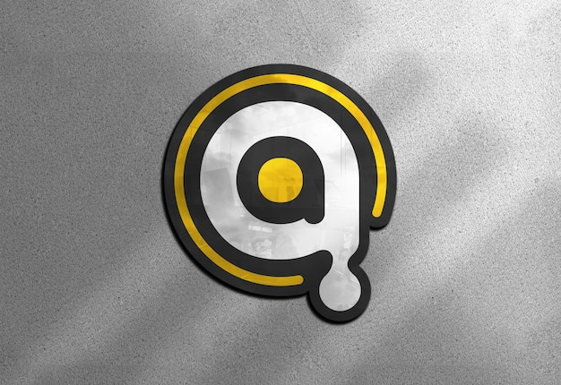 Mockup logo a colori sul muro
