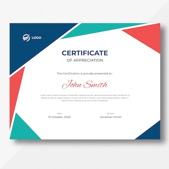 Modello di disegno del certificato di forme geometriche colorate