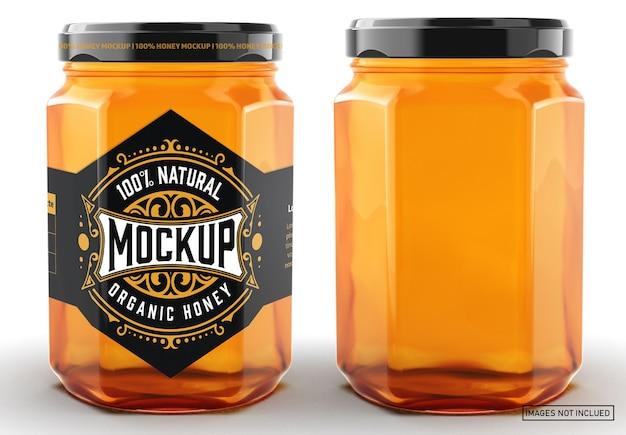 Mockup di etichetta colorata vasetto di miele