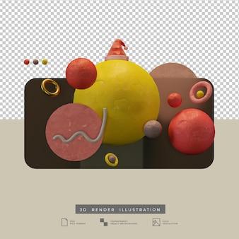 Forma astratta colorata con cappello di babbo natale 3d illustation