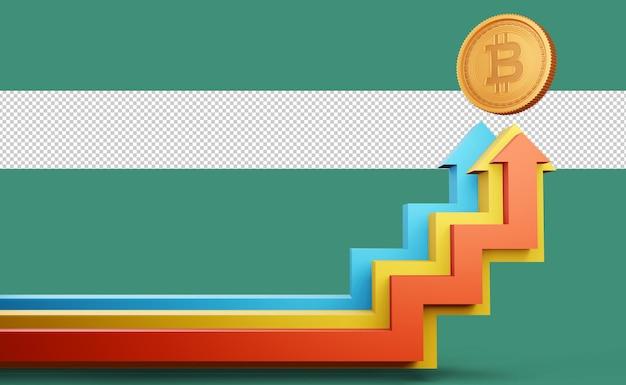 Freccia colorata con criptovaluta simbolo bitcoin rendering 3d