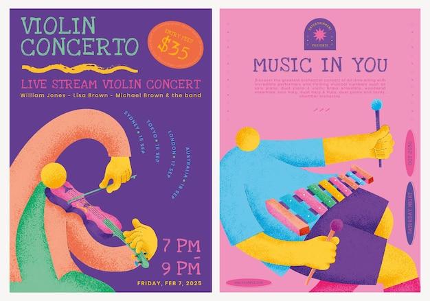 Modello di poster colorato concerto psd con grafica piatta di musicisti