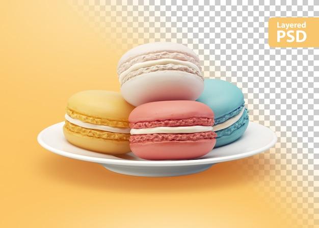 Biscotti colorati su un piatto bianco