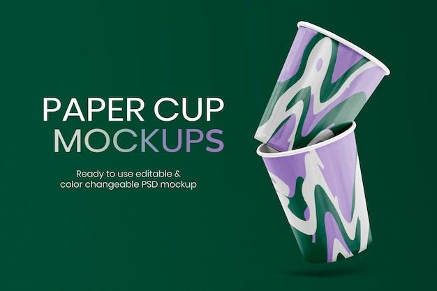 Pubblicità modificabile psd di mockup di carta colorata per tazza
