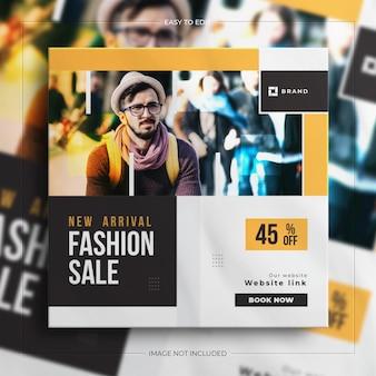 Banner di vendita di social media quadrato colorato vendita di moda per la storia di instagram con un mockup pulito