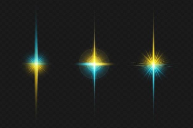 I bagliori colorati dell'obiettivo della galassia impostano la collezione di luci dell'obiettivo per buon natale