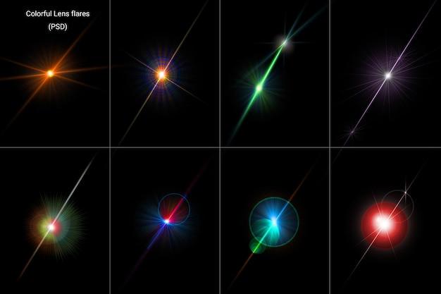 Razzi di lenti a luce incandescente colorate insieme isolato