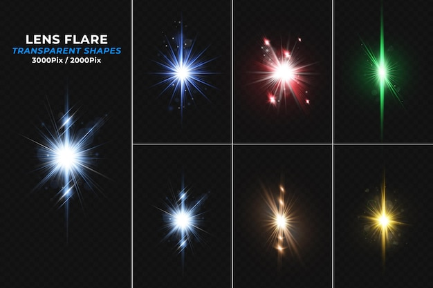 Collezione di effetti di luce con riflessi di lenti colorate