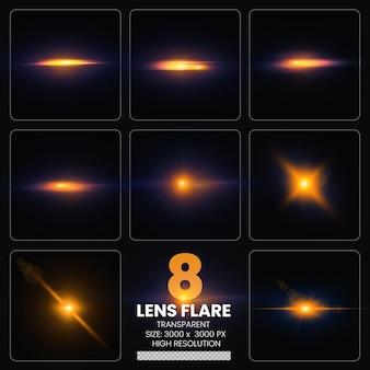 Riflessi di lenti colorate impostano luci per lenti collezione premium psd