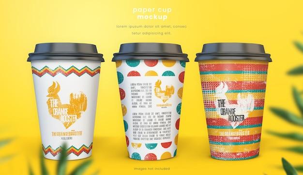 Rendering di design mockup bicchiere di carta colorato