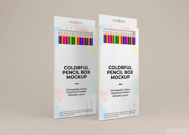 Progettazione di mockup di scatola di matite colorate in rendering 3d isolato