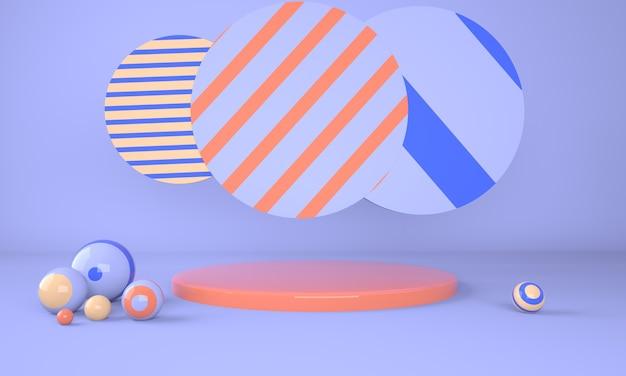 Podio colorato con palline rendering 3d