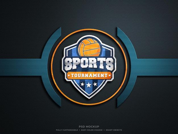 Mockup con logo in vetro riflettente colorato su tessuto in fibra di carbonio ruvido e duro mockup con logo esports