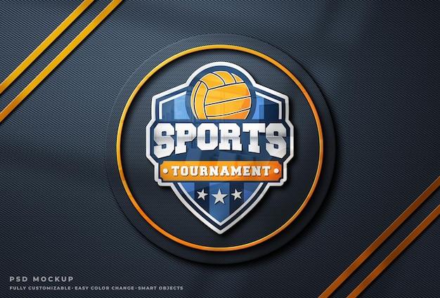 Mockup di logo in vetro riflettente colorato su muro di cemento polveroso ruvido esports logo mockup