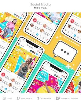 Mockup di social media colorato telefono