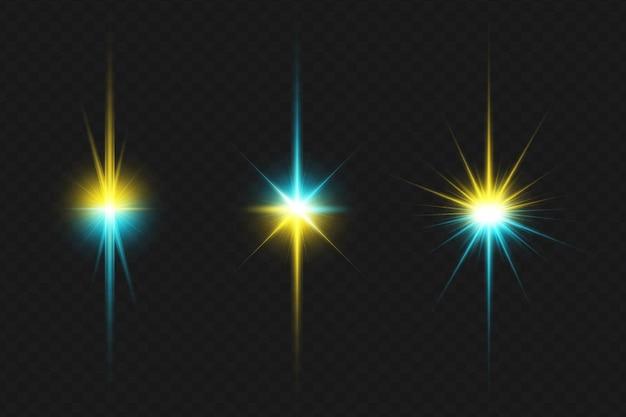 Collezione di luci colorate per bagliori di lenti trasparenti per natale