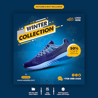 Modello di banner di social media di vendita di scarpe comode