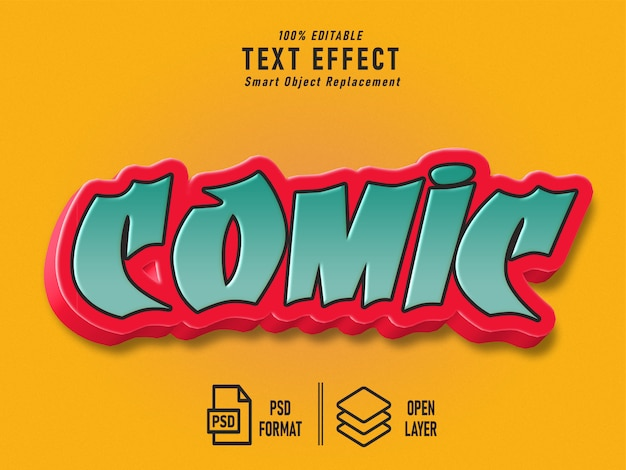 Comic text effect template vintage solid