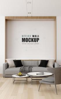 Comunicazione con i clienti nel mockup della parete della sala di gestione